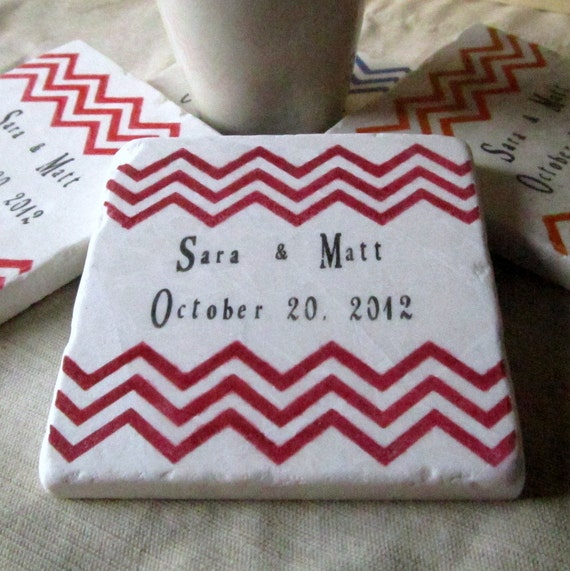 Personalized Chevron Wedding Favor Coasters - Geometric Design Bridal Shower Favors - Set of 25