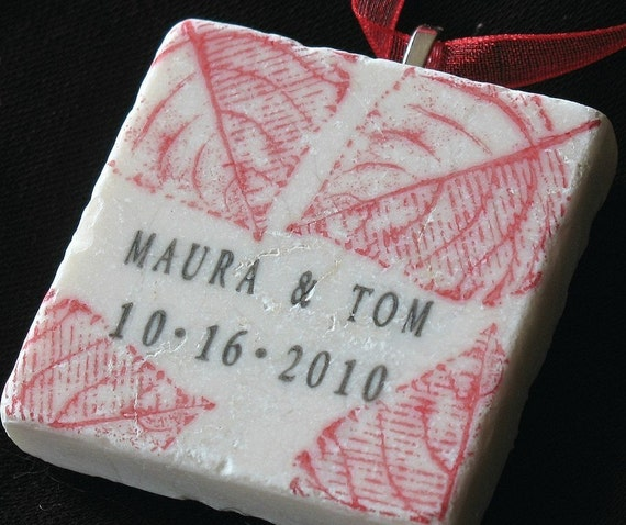 Red Autumn Leaf Personalized Ornament - Gift Box Included