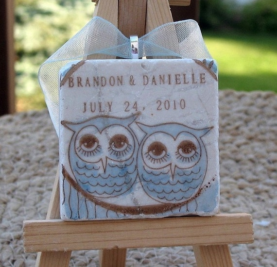 Custom Cozy Owl Personalized Keepsake Ornament - For the Couple - Gift Box