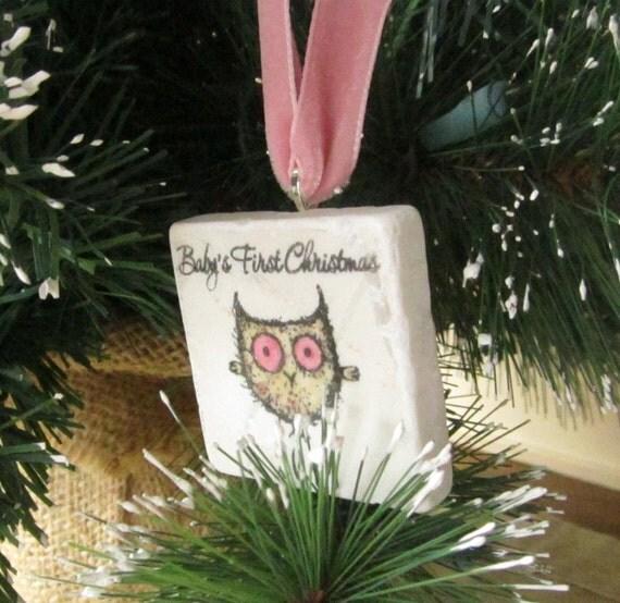 Baby's First Christmas Ornament - Owl Holiday Keepsake - Gift Box