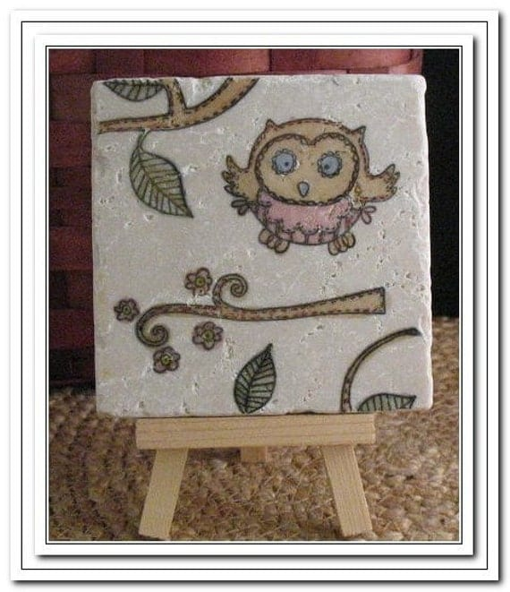 Painted Whimsical Woodland Opal the Owl Coaster, Set of 4