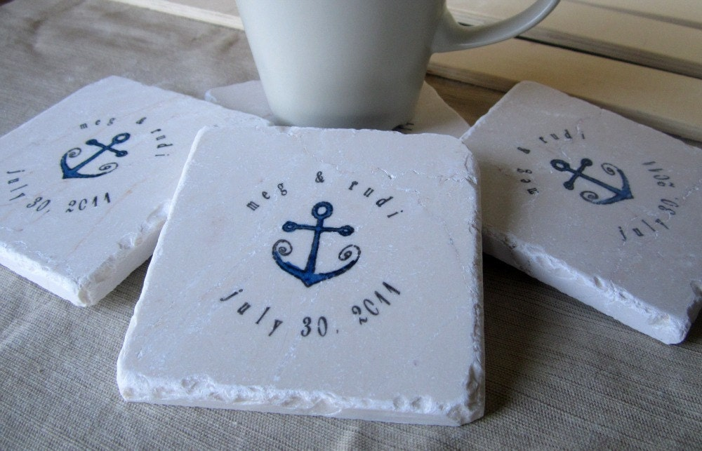 Personalized Coasters Wedding Gift: Beach Wedding Favor Coasters Nautical Anchor Set By