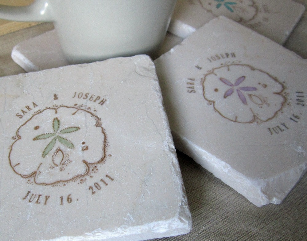 Personalized Coasters Wedding Gift: Sand Dollar Wedding Favor Coasters Set Of 120 By MyLittleChick