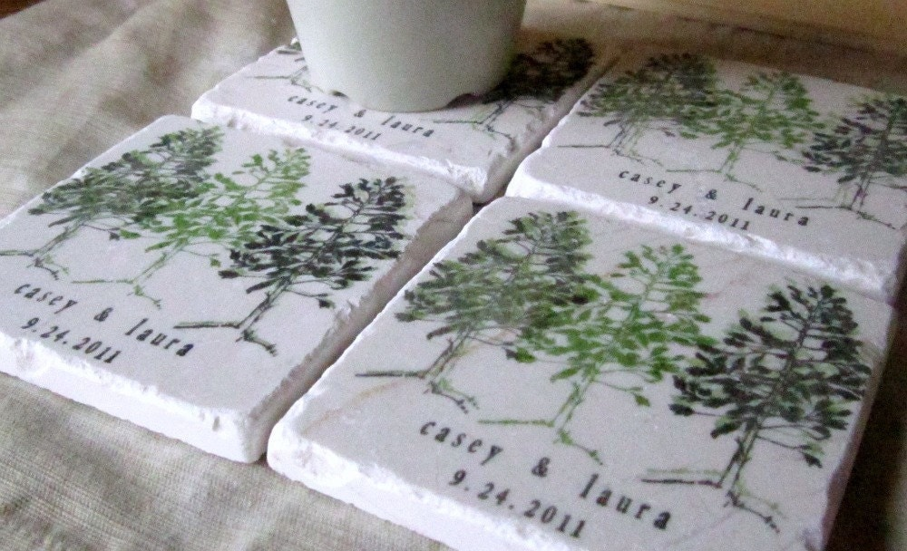 Personalized Coasters Wedding Gift: Personalized Pine Tree Wedding Favor Coasters By MyLittleChick