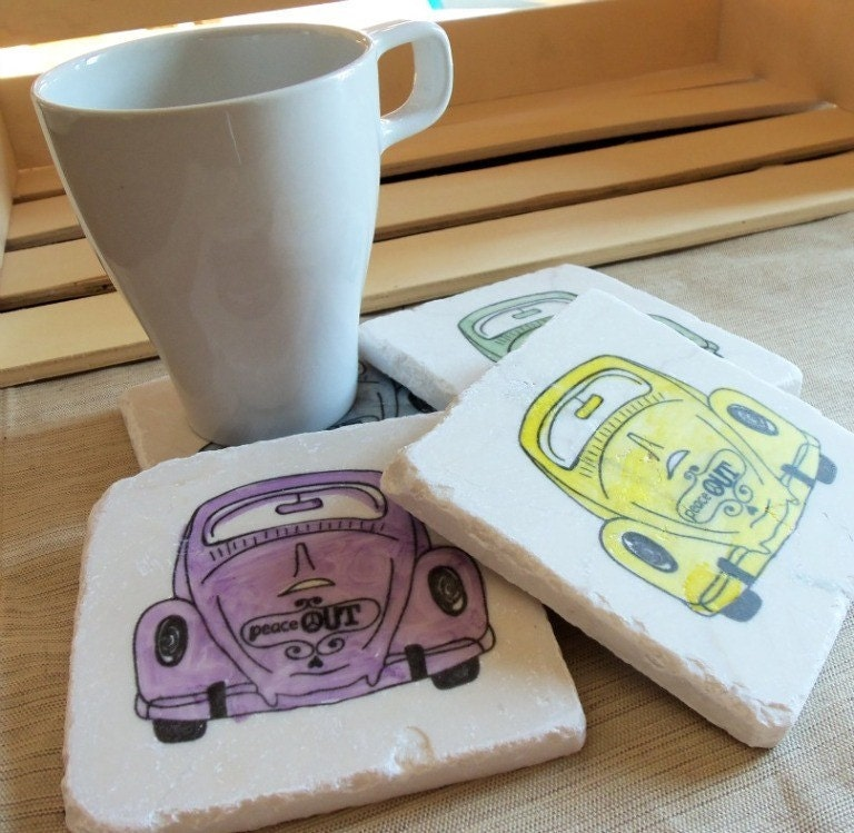 Peace out love bug tile coasters absorbent drink by mylittlechick - Drink coasters absorbent ...