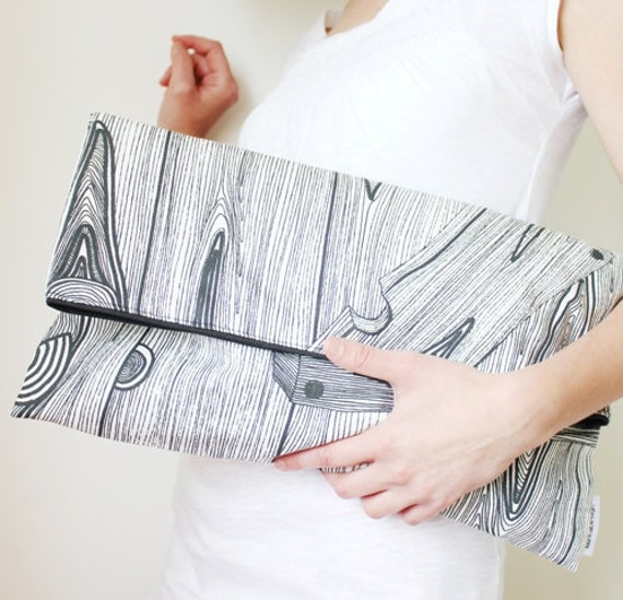 wood print extra large clutch, fold over clutch