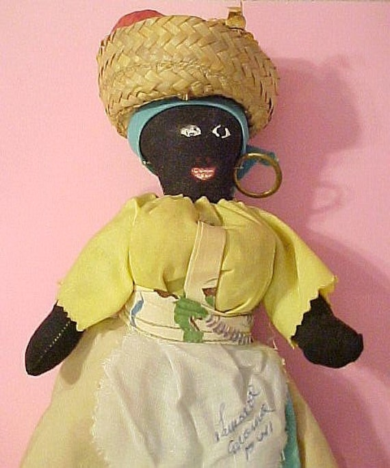 Old Rag Doll Jamaican Moma 50s 60s In Traditional Costume