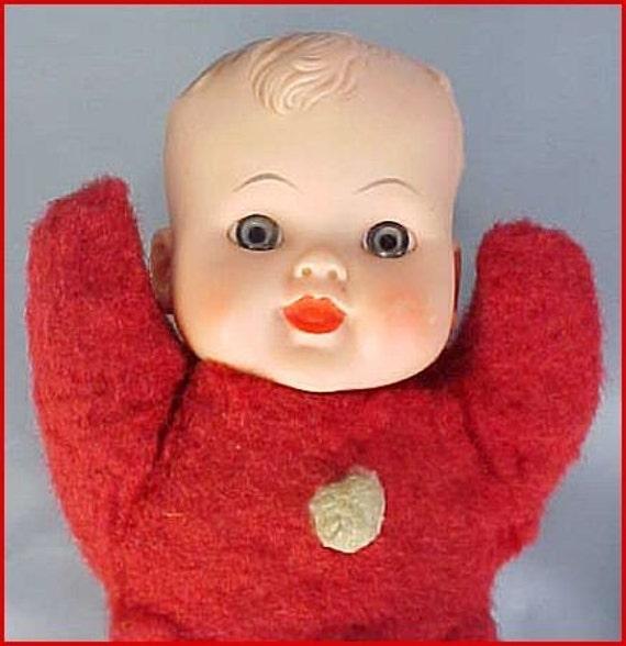 vintage 50s plush BABY DOLL red cloth body vinyl head blue eyes.....so cute