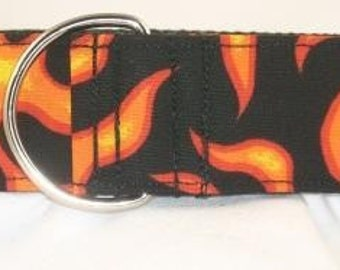 1.5 inch flames greyhound martingale dog collar, orange, red, black, hot, fire, collar with tag keeper---Fire and Flames-Orange