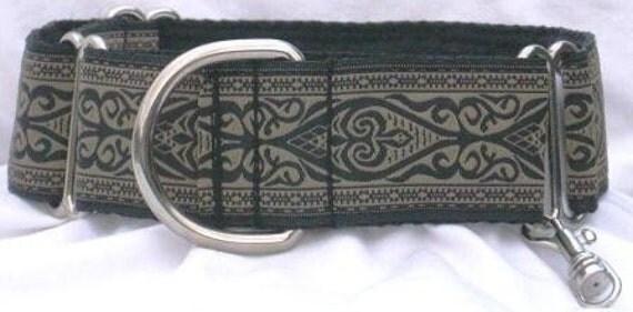 1.5 inch Greyhound Martingale dog collar w/TAG--Celtic-Ebony