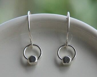 Tiny earrings, minimalist earrings, hoop earrings, dot earrings