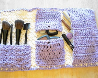 The Nell Makeup Bag in Cream and Lavender