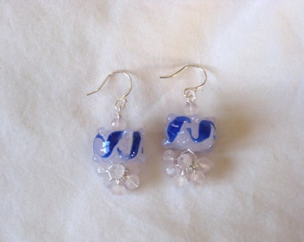 CLEARANCE: Pink and Blue Glass with Rose Quartz Rondelles on Sterling Silver