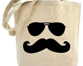 Free shipping in USA..Eco Friendly..Moustache Man tote bag
