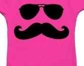 Women Graphic Sunglass Mustache Man T-shirt  (small size)