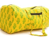 Quilted Duffle bag in Yellow with Green print.