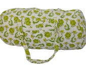 Quilted Duffle bag in White with Green floral print.