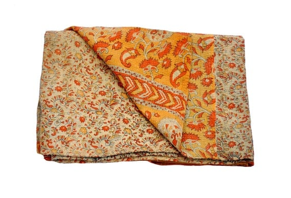 Vintage Reversible Quilt - Throw - katha traditional quilts- Ethnic - Quilted bedcovers - Floral print - Vintage blanket - twin / full size