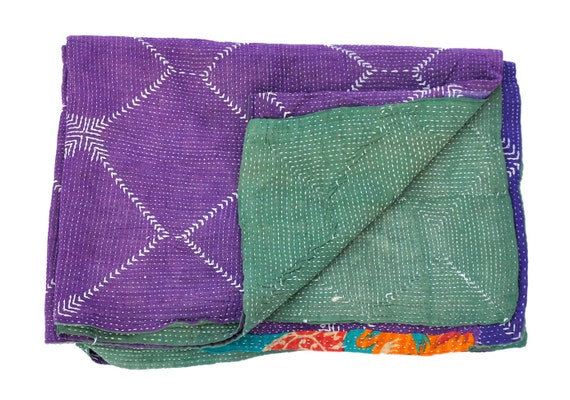 Vintage Reversible Quilt  - Throw - katha traditional quilts