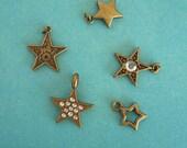 Lot of 5 brass star charms - destash