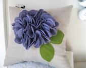 Purple Ruffle Flower Pillow