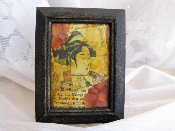 Art Collage Mixed Media ATC Card One Of A Kind OOAK Chinese Handmade Paper yellow Red #7