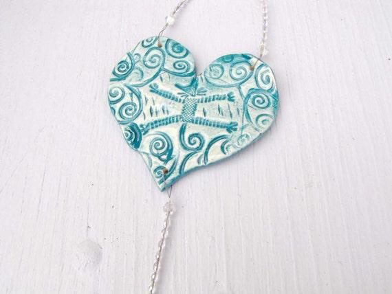 Ceramic Heart SunCatcher Wall Hanging Cat Sun Catcher Crystal Beads