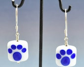 White With Blue Cat Paw Handcrafted Lampwork Bead Earrings Sterling Silver Jewelry SRA by HallockGlass