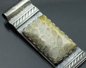 Texturized Sterling Silver Pendant Fossilized Coral Pendant