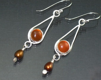 Sterling Silver Earrings Carnelian and Pearl  Earrings