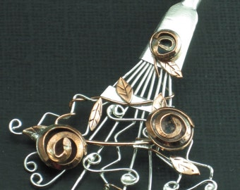 Mixed Metal Pendant Tim Burton Inspired Pendant Rose Rake