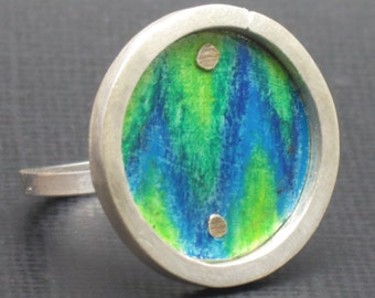 Sterling Silver Ring Ikat Ring in Cool Blues