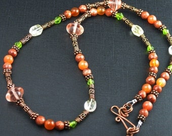 Copper, Mixed Glass and Semi-precious Beaded Necklace