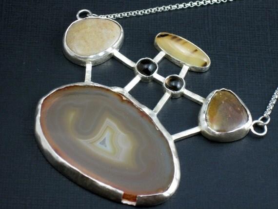 Sterling Silver Necklace Slabbed Agate Smoky Quartz River Rocks Statement Necklace