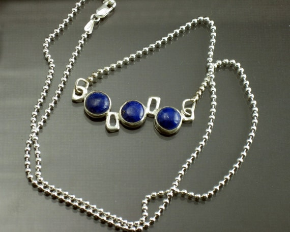 Sterling Silver Necklace Lapis Geometric Necklace