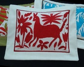Embroidered pillow P112 kids room A red cat trotting gayly in the garden of good and evil with his friend the mosquito