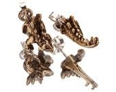 STEGOSAURUS HALFSIES - Dinosaur Stud Earrings in Antique Gold