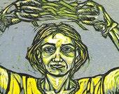 Garden Coronation (Original Color Reductive Woodblock Print)