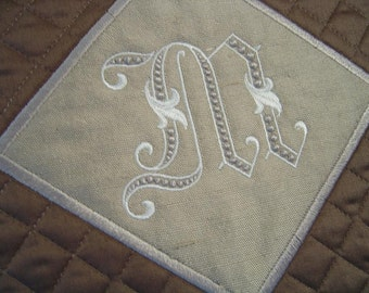 Pillow Sham with Monogram toss pillow bedroom living room chocolate quilted