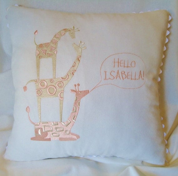 Giraffe embroidered nursery pillows with animals personalized