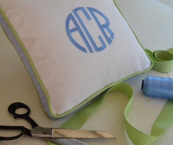 embroidery monogram pillow personalized cotton sunbrella white indoor outdoor home decor nursery