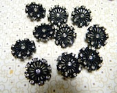 CLEARANCE SALE Vintage Rhinestone Buttons - New Old Stock - Black with Clear Crystal Rhinestones- Set of 8
