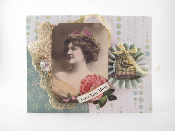 Mother's Day Card - Vintage Style Card for Mom - Victorian Card