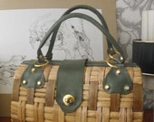 Vintage Straw and Green Leather Doctor Style Bag