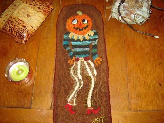 Primitive Hooked Rug Halloween Pumpkin Man SALE