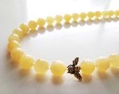 Lemon Drop Necklace - Yellow Jade and Gold Honey Bee