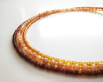 Triple Strands Necklaces Set 1 - Orange Aventurine, Czech Glass