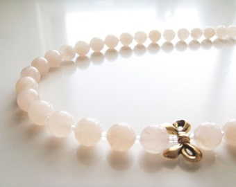 Peachy Keen Necklace - Pink Aventurine and Gold Ribbon
