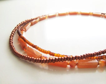 Triple Strands Necklaces Set 2 - Orange Aventurine, Carnelian, Czech Glass