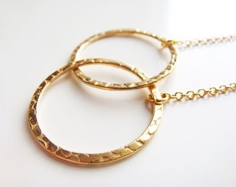 Eternity Rings Necklace - Gold